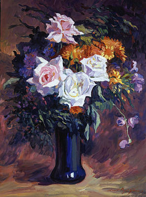 Floral Arrangement Painting - Antique Roses by David Lloyd Glover