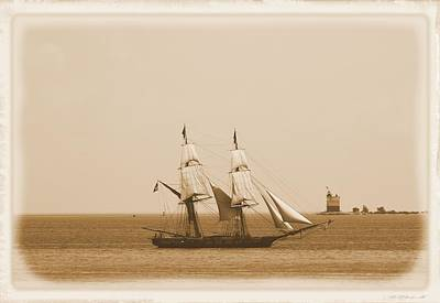 Antique Sailing Ship And Lighthouse Art Print by Dan Sproul