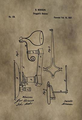 Scale Digital Art - Antique Scale Patent by Dan Sproul