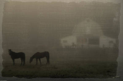 Antique Scene Of Horses In A Fog Art Print by Mick Anderson