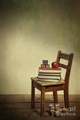 Photograph - Antique School Chair With Books And Apple  by Sandra Cunningham