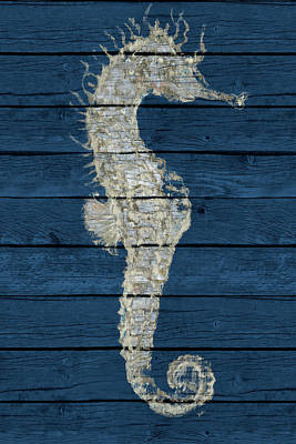 Seahorse Digital Art - Antique Seahorse On Blue I by Patricia Pinto