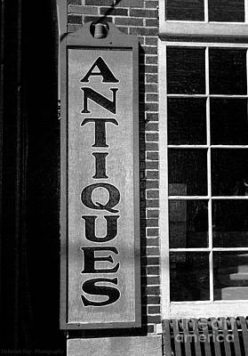 Photograph - Antique Signage Black And White by Deborah Fay