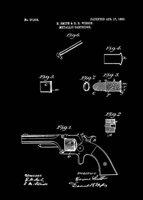 1860 Drawing - Antique Smith And Wesson Patent For A Metallic Cartridge 1860 by Mountain Dreams
