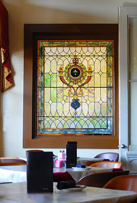 Photograph - Antique Stained Glass Window At The Ant Street Inn by Connie Fox