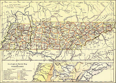 Map Of Tennessee Drawing - Antique State Of Tennessee Map 1888 by Mountain Dreams