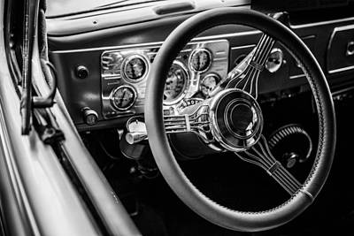 Photograph - Antique Steering Wheel And Dash by Karen Saunders