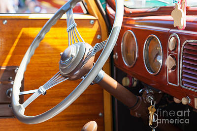 Photograph - Antique Steering Wheel by Diane Macdonald
