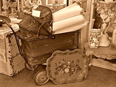 Photograph - Antique Still Life With Baby Carriage And Other Objects In Sepia by Valerie Garner