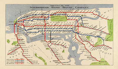 Times Square Drawing - Antique Subway Map Of New York City - 1924 by Blue Monocle