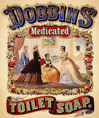 Promotion Drawing - Antique Toilet Soap Ad - 1868 by Mountain Dreams