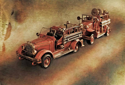 Photograph - Antique Toy Fire Trucks by Liz Mackney