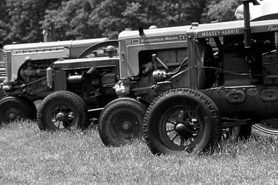 Photograph - Antique Tractors B And W by Roger Soule