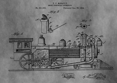 Caboose Digital Art - Antique Train Patent 1894 by Dan Sproul