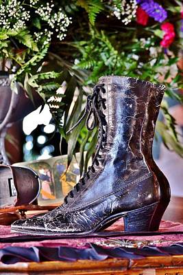 Photograph - Antique Victorian Boots At The Boardwalk Plaza Hotel - Rehoboth Beach Delaware by Kim Bemis