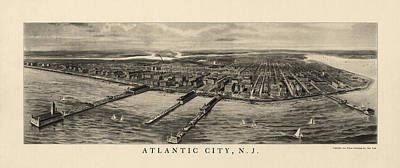 Antique View Of Atlantic City New Jersey - 1905 Art Print by Blue Monocle