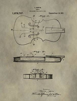 Violin Digital Art - Antique Violin Patent by Dan Sproul
