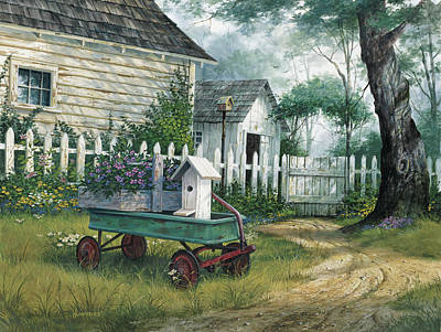 Fence Painting - Antique Wagon by Michael Humphries