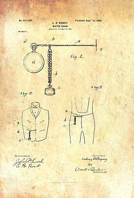 1890s Drawing - Antique Watch Chain Patent by Mountain Dreams