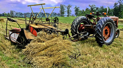 Keck Photograph - Antique Wheat Binder And Tractor by F Leblanc