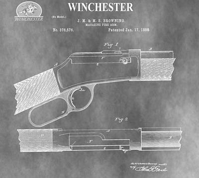 American West Mixed Media - Antique Winchester Rifle Patent by Dan Sproul