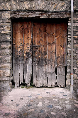 Old Door Photograph - Antique Wood Door Damaged by Gina Dsgn