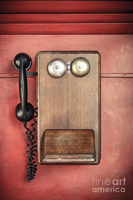 Photograph - Antique Wooden Wall Telephone by Silken Photography