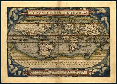 Whaling Drawing - Antique World Map By Abraham Ortelius 1570 Ad by L Brown