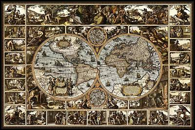 Whaling Drawing - Antique World Map Circa 1670 II by L Brown