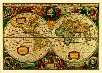 Whaling Drawing - Antique World Map Circa 1670 by L Brown