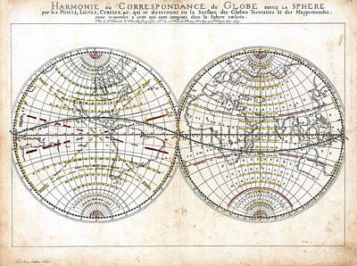 Antique World Map Harmonie Ou Correspondance Du Globe 1659 Art Print by Karon Melillo DeVega