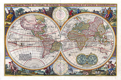 Photograph - Antique World Map Orbis Terrarum Typus De Integro In Plurimis Emendatus 1657 by Karon Melillo DeVega