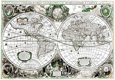 Antique World Map Poster Art Print