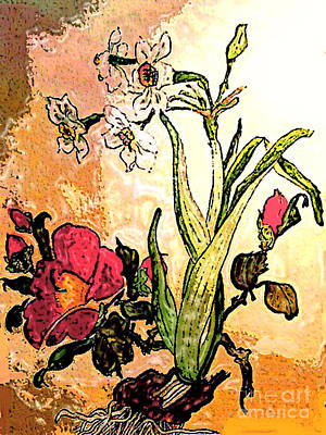 Photograph - Antiqued Floral Watercolor Painting by Merton Allen