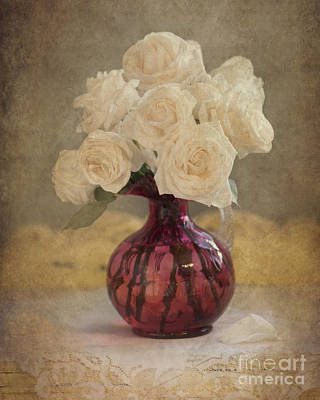 Antique Roses Vase Wall Art - Photograph - Antiqued Roses by Betty LaRue
