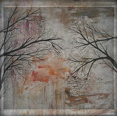 Antiqued Tree Silhouette Art Print By Laura Carter Art Print by Laura Carter