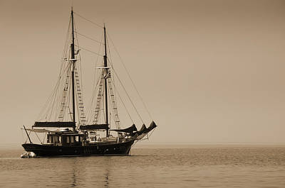 Photograph - Antiqued Yacht Off Mykonos Greece by Brenda Kean