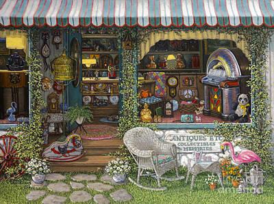 Jukebox Painting - Antiques Etc by Janet  Kruskamp