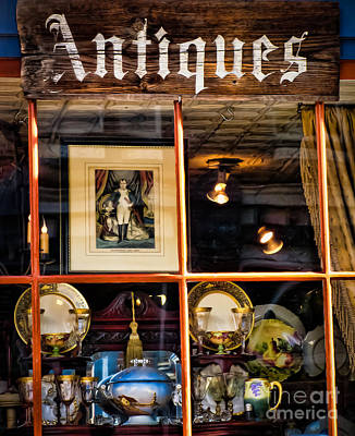 By Colleen Kammerer Photograph - Antiques In The Window by Colleen Kammerer