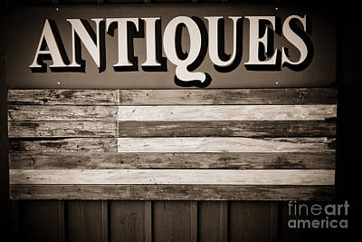 Photograph - Antiques Sign by Colleen Kammerer