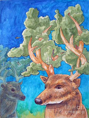 Painting - Antler Ecosystem by Whitney Morton