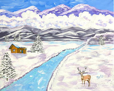 Painting - Antlers And Snow by Phyllis Kaltenbach