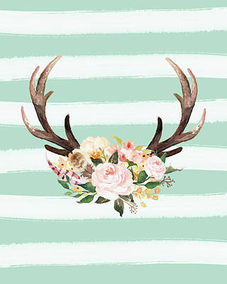 Antlers On Stripes Turquoise Art Print by Tara Moss