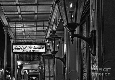 Gas Lamp Quarter Photograph - Antoine's Restaurant New Orleans Monochrome by Kathleen K Parker