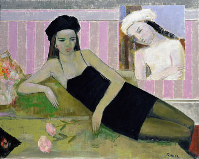 Thoughtful Photograph - Antoinette And A Detail From Balthus, 1994 Oil On Canvas by Endre Roder