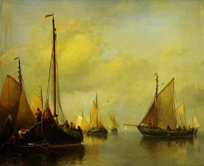 Op Painting - Antonie Waldorp Vissersboten Op Kalm Water by MotionAge Designs
