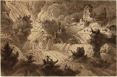 Flooding Drawing - Antonio Basoli Italian, 1774 - 1848, Mountain Torrents by Quint Lox