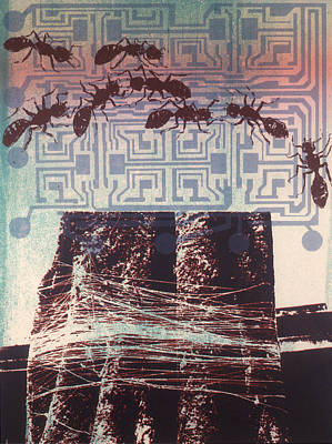 Ant Mixed Media - Ants And Chip by Susan Smith Evans