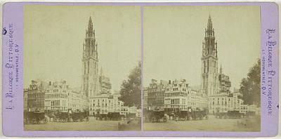 Antwerpen Drawing - Antwerp Anvers Antwerpen Cathedral And Old Houses by Artokoloro