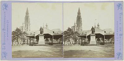 Antwerpen Drawing - Antwerp Anvers Antwerpen, The Cathedral, Rubens Statue by Artokoloro